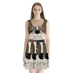 Bulldog face Split Back Mini Dress
