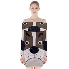 Bulldog face Long Sleeve Off Shoulder Dress