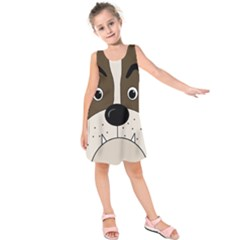 Bulldog face Kids  Sleeveless Dress
