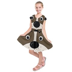 Bulldog face Kids  Short Sleeve Dress