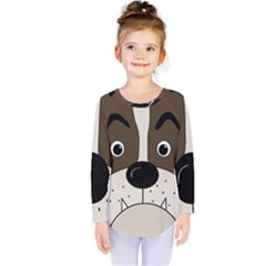 Bulldog face Kids  Long Sleeve Tee