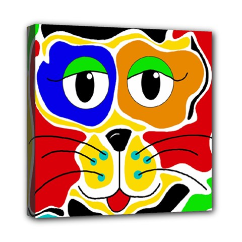 Colorful cat Mini Canvas 8  x 8
