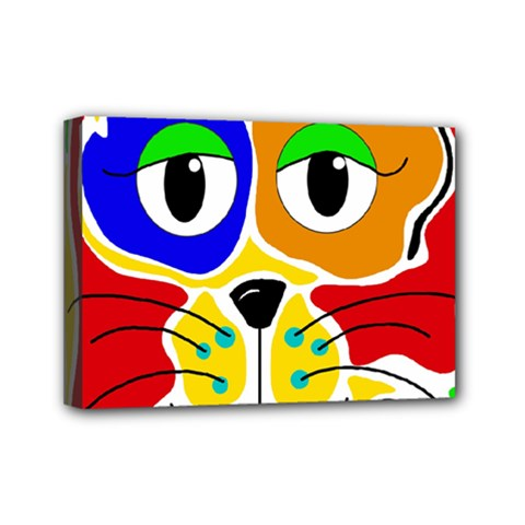 Colorful cat Mini Canvas 7  x 5