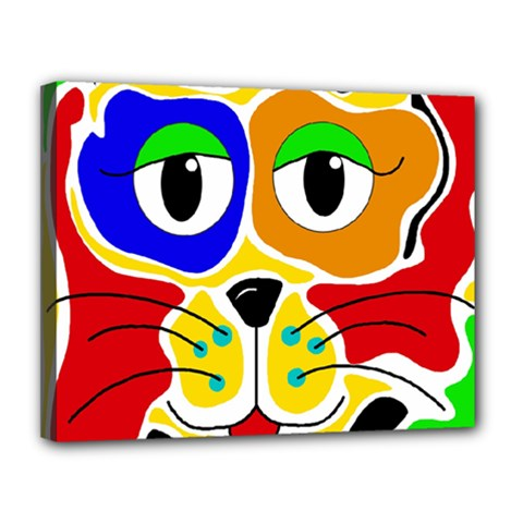 Colorful cat Canvas 14  x 11