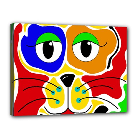 Colorful cat Canvas 16  x 12