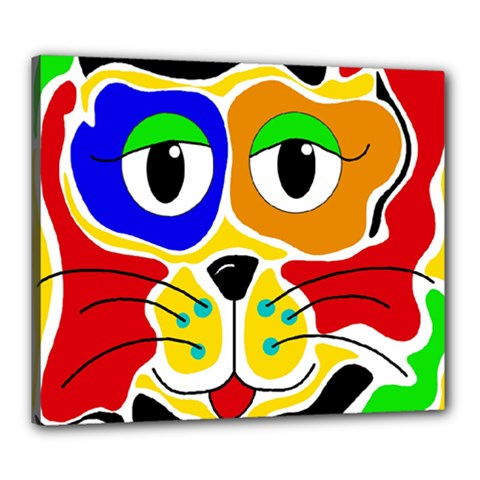 Colorful cat Canvas 24  x 20