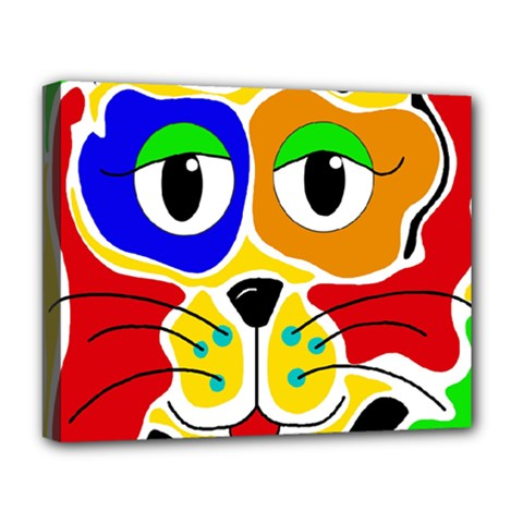 Colorful cat Deluxe Canvas 20  x 16