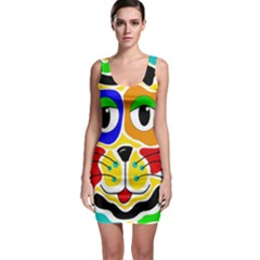 Colorful cat Sleeveless Bodycon Dress