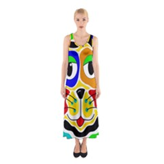 Colorful cat Sleeveless Maxi Dress