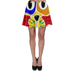 Colorful cat Skater Skirt