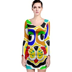 Colorful cat Long Sleeve Bodycon Dress