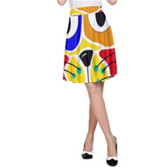 Colorful cat A-Line Skirt