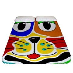 Colorful cat Fitted Sheet (Queen Size)
