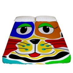 Colorful cat Fitted Sheet (California King Size)