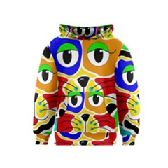 Colorful cat Kids  Pullover Hoodie
