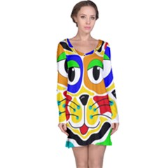 Colorful cat Long Sleeve Nightdress