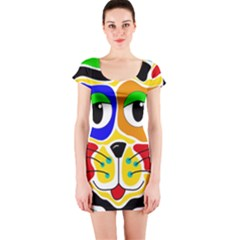 Colorful cat Short Sleeve Bodycon Dress