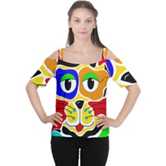 Colorful cat Women s Cutout Shoulder Tee