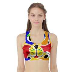Colorful cat Sports Bra with Border