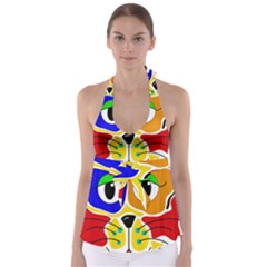 Colorful cat Babydoll Tankini Top
