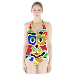 Colorful cat Halter Swimsuit