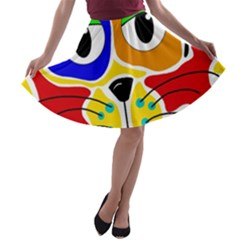 Colorful cat A-line Skater Skirt