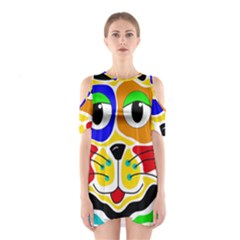 Colorful cat Cutout Shoulder Dress