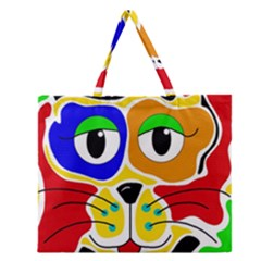 Colorful cat Zipper Large Tote Bag