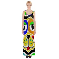 Colorful cat Maxi Thigh Split Dress
