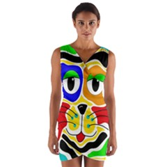 Colorful cat Wrap Front Bodycon Dress