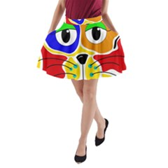 Colorful cat A-Line Pocket Skirt