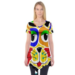 Colorful cat Short Sleeve Tunic