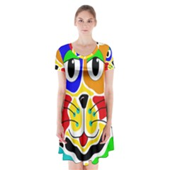 Colorful cat Short Sleeve V-neck Flare Dress
