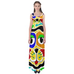 Colorful cat Empire Waist Maxi Dress