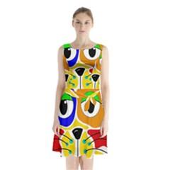 Colorful cat Sleeveless Chiffon Waist Tie Dress