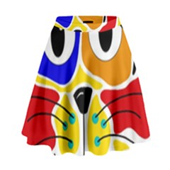 Colorful cat High Waist Skirt