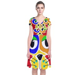 Colorful cat Short Sleeve Front Wrap Dress