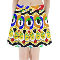 Colorful cat Pleated Mini Skirt