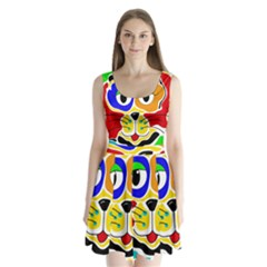 Colorful cat Split Back Mini Dress