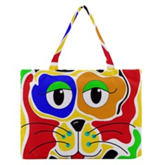 Colorful cat Medium Zipper Tote Bag
