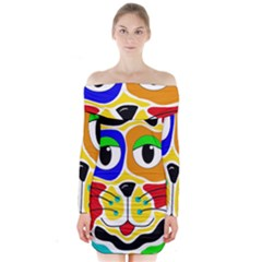 Colorful cat Long Sleeve Off Shoulder Dress