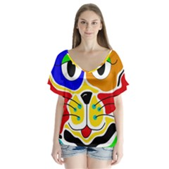 Colorful cat Flutter Sleeve Top