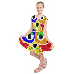 Colorful cat Kids  Short Sleeve Dress