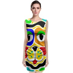 Colorful cat Sleeveless Velvet Midi Dress