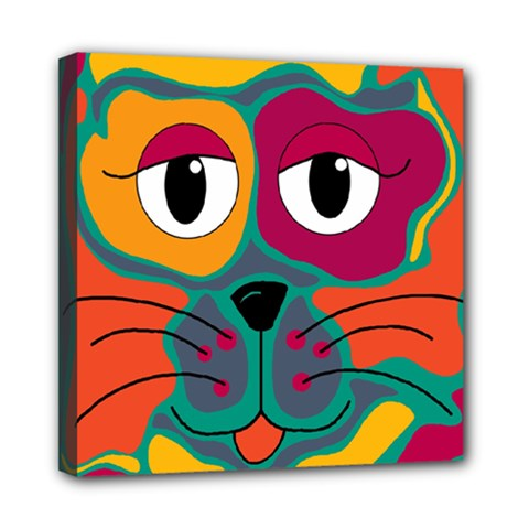 Colorful cat 2  Mini Canvas 8  x 8