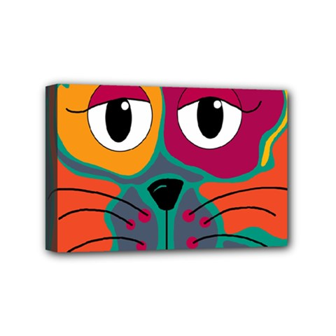 Colorful cat 2  Mini Canvas 6  x 4
