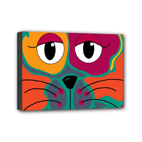 Colorful cat 2  Mini Canvas 7  x 5