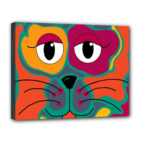 Colorful cat 2  Canvas 14  x 11
