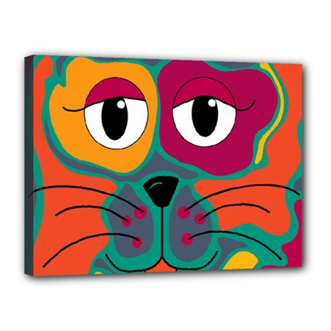 Colorful cat 2  Canvas 16  x 12