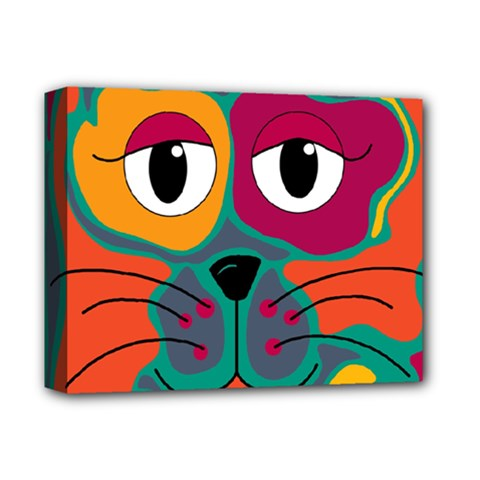 Colorful cat 2  Deluxe Canvas 14  x 11